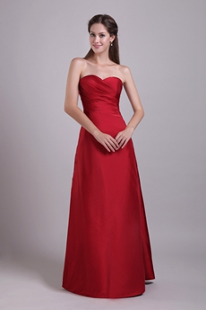 Simple Sweetheart Column Red Taffeta Prom Dress