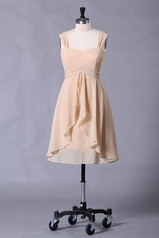 Straps Knee Length Champagne Chiffon Bridesmaid Dress