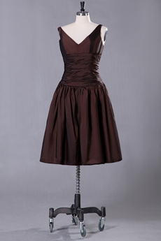 V-Neckline Puffy Knee Length Chocolate Prom Dress