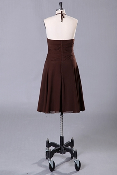 Knee Length Brown Chiffon Halter Bridesmaid Dress For Summer