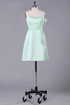 Mini Length Sage Bridesmaid Dress With Bowknot