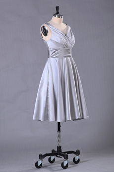 Knee Length V-Neckline Silver Wedding Guest Dress