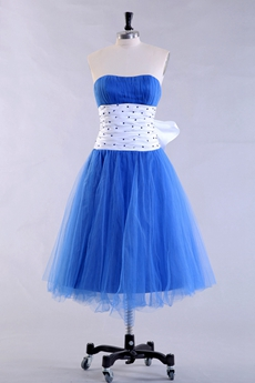 Tea Length Dipped Neckline Royal Blue Prom Dress