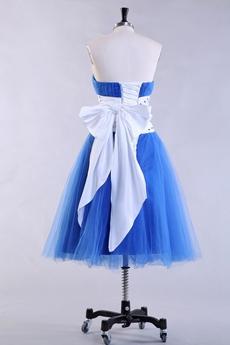 Tea Length Dipped Neckline Royal Blue Prom Dress
