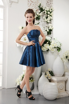 Strapless A-line Mini Length Royal Blue Homecoming Dress