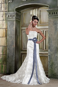 Retro Trumpet/Mermaid Lace Wedding Dress With Grey Belt