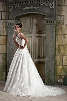 Grecian V-Neckline Princess Lace Wedding Dress V-Back