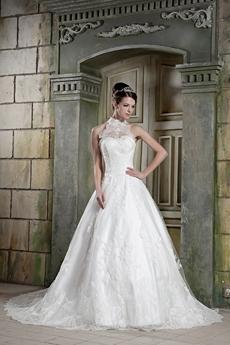 Unique Halter Puffy Floor Length Princess Lace Wedding Dress