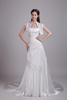 Glamour A-line Full Length Lace Wedding Dress Corset Back