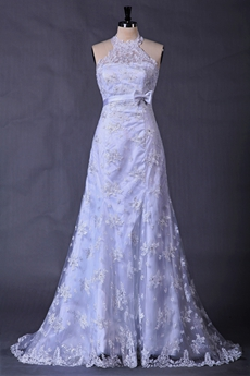Halter A-line Full Length Casual Lace Wedding Dress