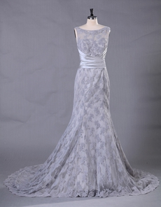 Boat Neckline Silver Grey Lace Bridal Gown Illusion Back