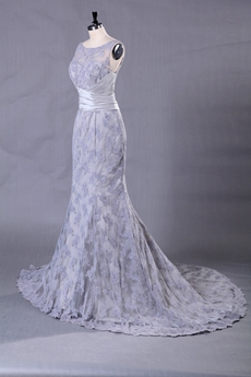 Boat Neckline Silver Grey Lace Bridal Gown Illusion Back