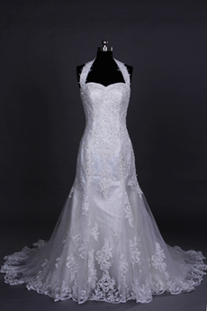 Qualified Halter Sheath Mermaid Lace Wedding Gown