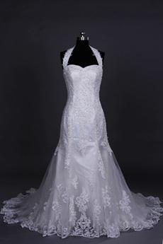 Qualified Halter Sheath Mermaid Lace Wedding Gown