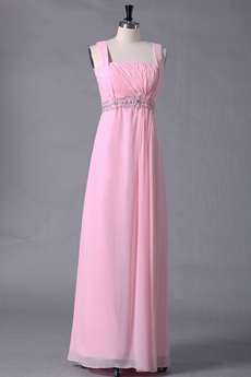 Cute Straps Pink Chiffon Bridesmaid Dress