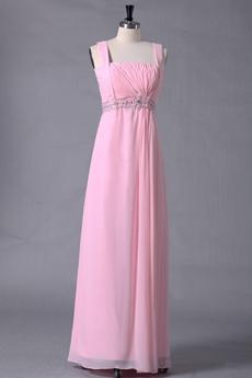 Cute Straps Pink Chiffon Bridesmaid Dress