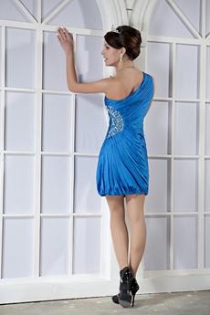 One Shoulder Sheath Mini Length Turquoise Wedding Guest Dress