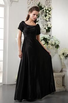 Short Sleeves Column Long Black Mother Of The Bride Dress