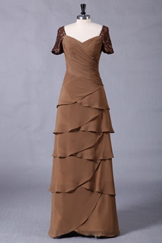 Short Sleeves Column Floor Length Brown Mother Of The Bride Dress