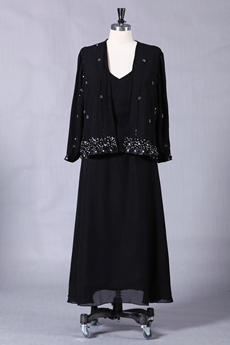 Modest Tea Length Black Chiffon Mother Of The Bride Dress