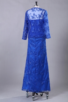 Ankle Length Royal Blue Lace Mother Of The Bride Dress With Jacket