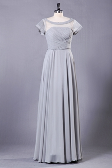 Column Full Length Short Sleeves Gray Mother Of The Bride Dress