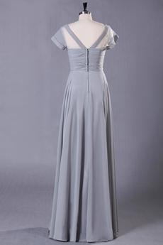 Column Full Length Short Sleeves Gray Mother Of The Bride Dress