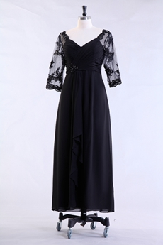 3/4 Sleeves Column Tea Legth Drak Navy Mother Of The Bride Dress