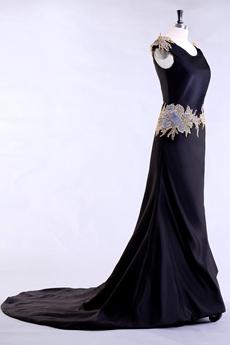 Graceful Scoop Neckline Dark Navy Mother Of The Bride Dress