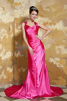 Attractive Crossed Straps Back A-line Hot Pink Satin Prom Gown Wth Shawl