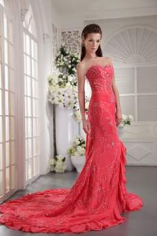 Gorgeous Sheath Floor Length Watermelon Prom Dress With Embroidery
