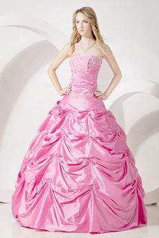 Strapless Ball Gown Taffeta Hot Pink Quinceanera Dress 2016