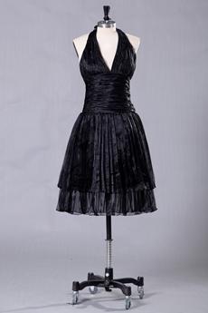 Top Halter Knee Length Black Prom Dress