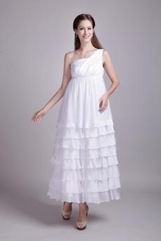 Desirable One Shoulder Maternity Wedding Dress Tea Length