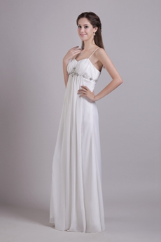 Spaghetti Straps Empire Full Length Ivory Chiffon Maternity Wedding Dress