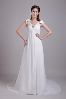 Corset Back V-Neckline Empire Full Length White Chiffon Maternity Wedding Dress