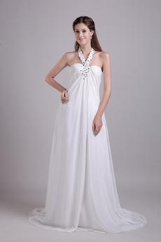 Top Halter Empire Full Length Ivory Chiffon Maternity Wedding Gown