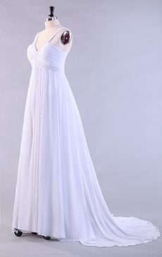 Grecian V-Neckline Empire Full Length Chiffon Maternity Wedding Dress