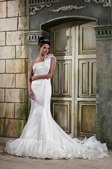 Exclusive One Shoulder Organza Mermaid Wedding Dress 2016