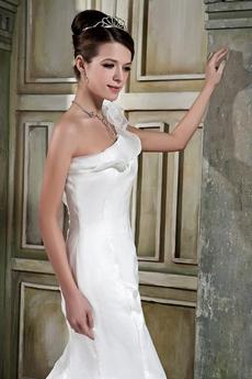 Exclusive One Shoulder Organza Mermaid Wedding Dress 2016