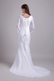 Long Sleeves Embroidery Winter Wedding Dress