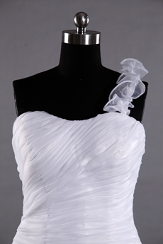 White Organza Single Strap Trumpet Wedding Gowns With Ruffled Skirt