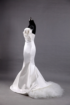Ivory Satin Fishtail Wedding Gowns With 3d Flowers