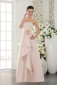 Simple Strapless Puffy Full Length Satin Prom Dress