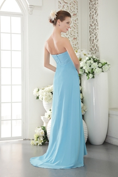 Affordable Sweetheart Straight/Column Blue Chiffon Prom Dress
