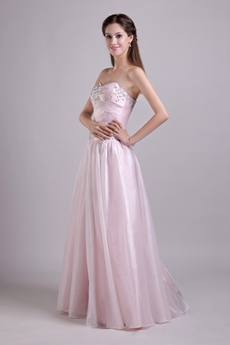 Shallow Sweetheart Puffy Floor Length Light Pink Quince Dress