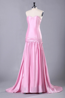 Sweetheart Column Floor Length Pink Prom Dress Corset Back