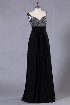 Column Floor Length Spaghetti Straps Black Prom Dress With Handmade Bodice