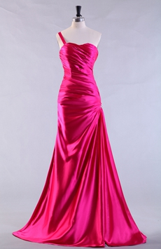 Single Straps Sheath Floor Length Hot Pink Prom Dress
