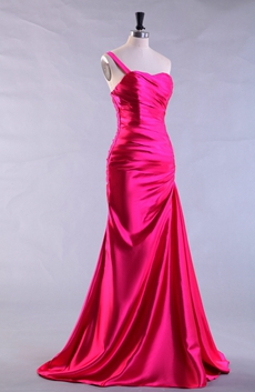 Single Straps Sheath Floor Length Hot Pink Prom Dress